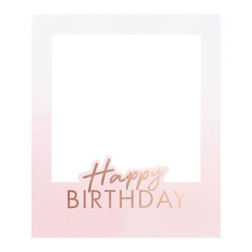 Personalised Happy Birthday Photo Booth Selfie Frame - Rose Gold Party